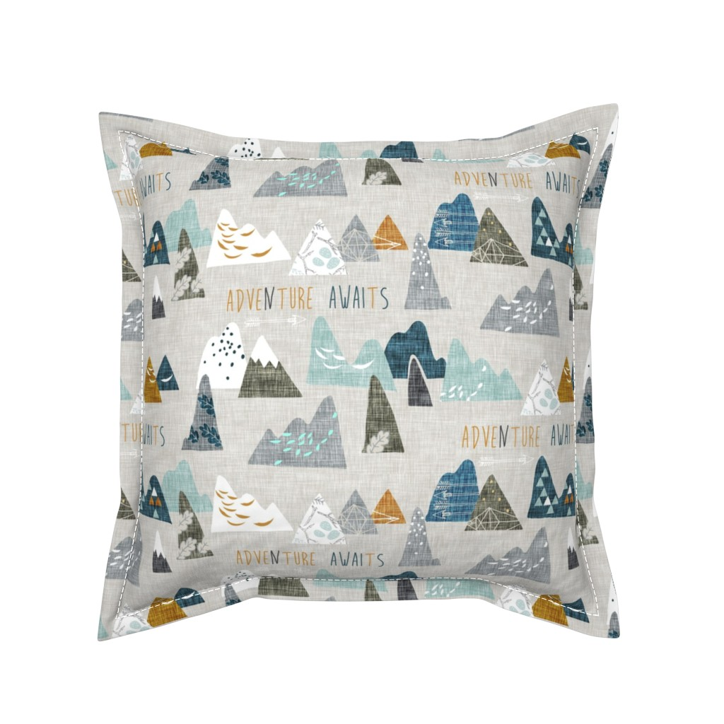Serama Throw Pillow featuring Adventure Awaits (earth) REGULAR by nouveau_bohemian
