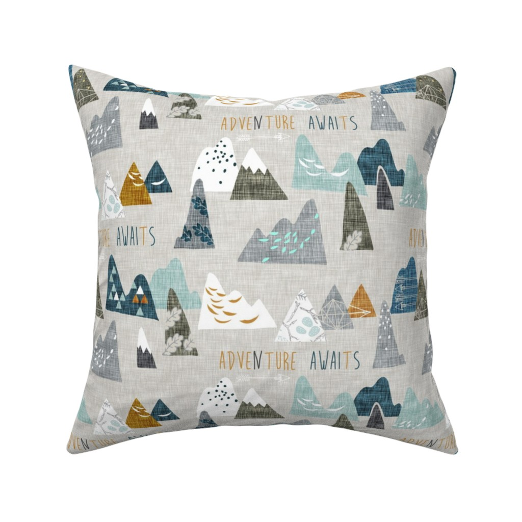 Catalan Throw Pillow featuring Adventure Awaits (earth) REGULAR by nouveau_bohemian