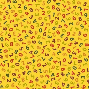 ditsy numbers in autumn yellow
