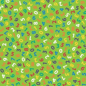 ditsy rainbow numbers on lime green