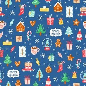 Winter holidays symbols, cute Christmas cartoon pattern