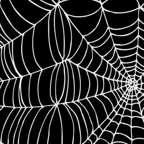 Spiderwebs - White on black - large scale by Cecca Designs