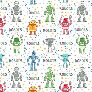Cute cartoon robots colorful pattern