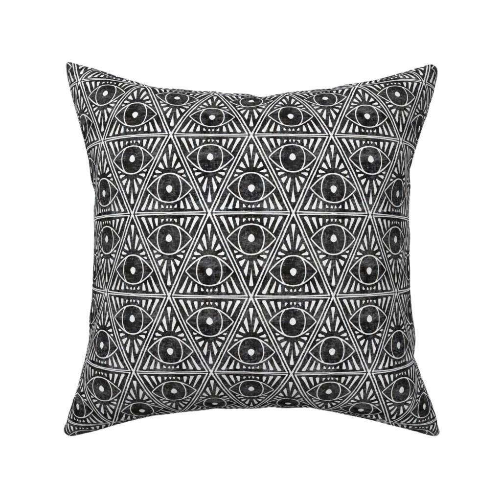 Catalan Throw Pillow featuring zodiac_magic_eye_dark charcoal textured by holli_zollinger