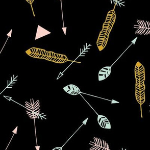 Scatter feather & arrows on black