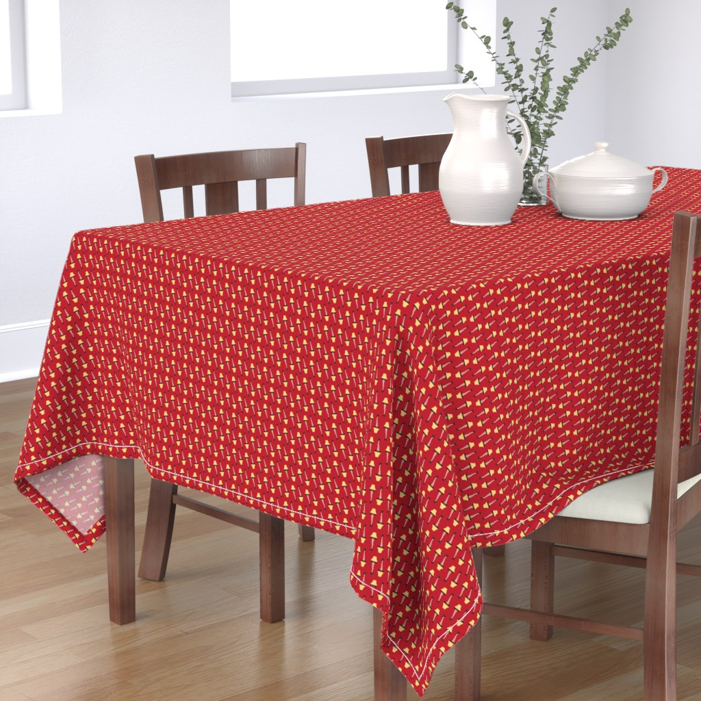 Bantam Rectangular Tablecloth featuring Christmas Retro Leg Lamp on Red by furbuddy