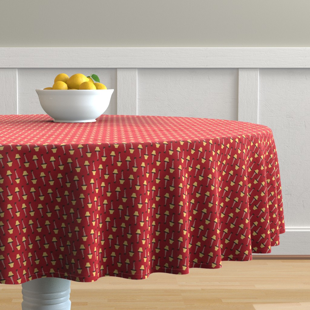 Malay Round Tablecloth featuring Christmas Retro Leg Lamp on Red by furbuddy