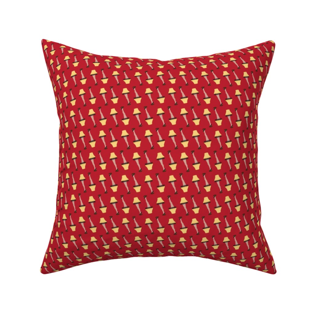 Catalan Throw Pillow featuring Christmas Retro Leg Lamp on Red by furbuddy