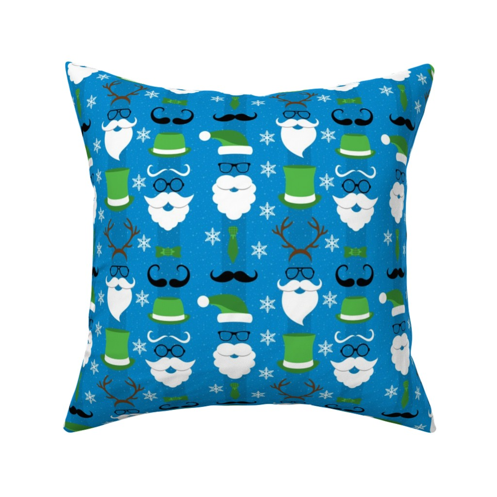 Catalan Throw Pillow featuring Christmas Hipster Santa Blue and Green by furbuddy