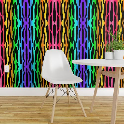 Wallpaper Rainbow Zebra Stripes Safari Jungle Animal Print