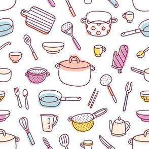 Kitchenware and cooking utensils cartoon pattern