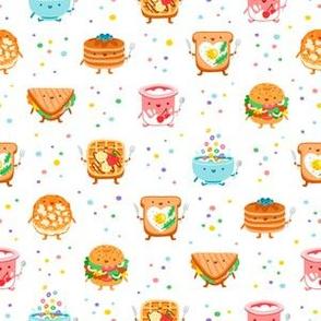 Best breakfast ever, cute characters pattern