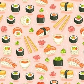 Sushi and rolls, yummy cartoon print, small scale