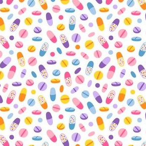 Colorful pills, medicine pattern, small scale