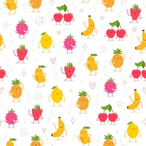 Awesome cartoon fruit characters funny pattern