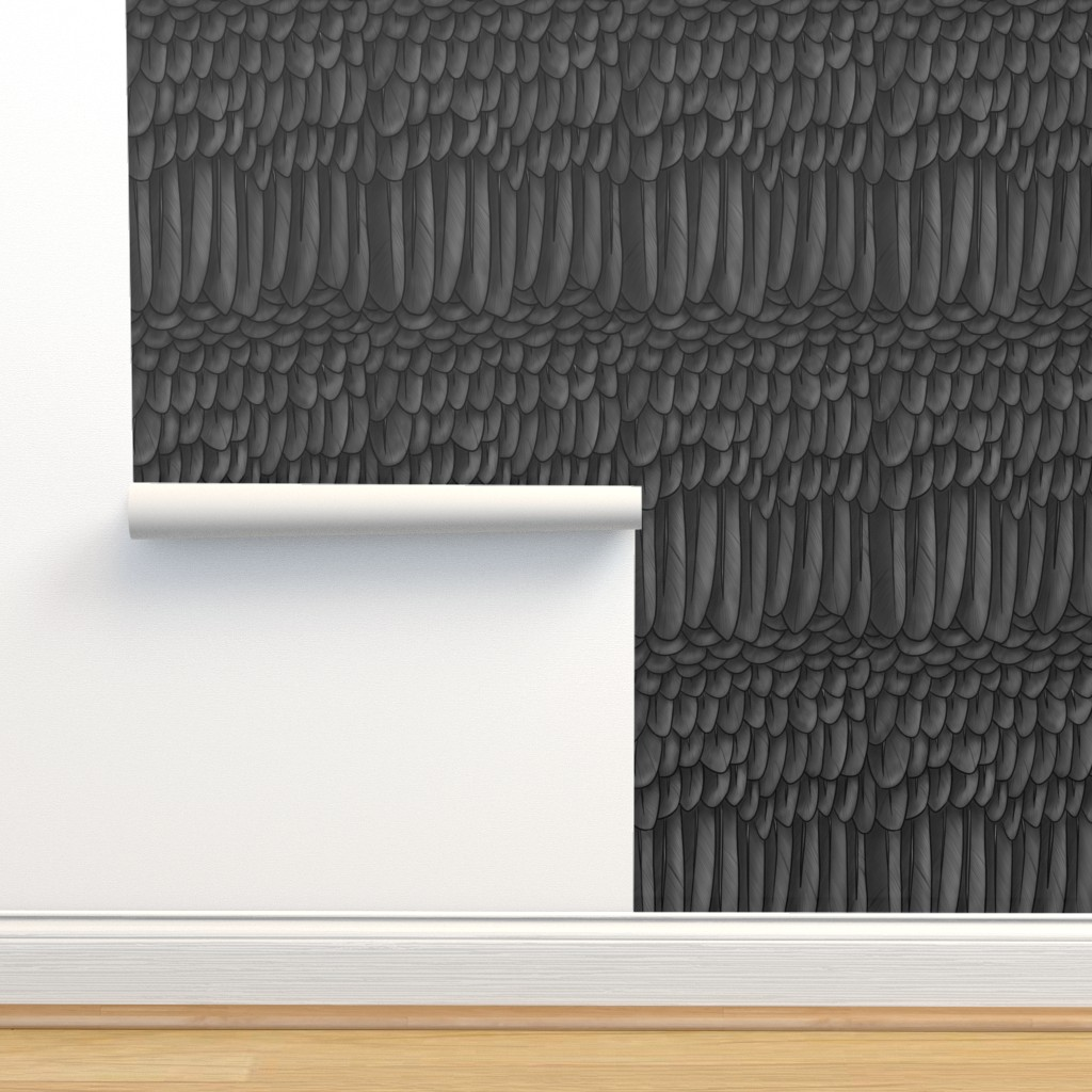 Isobar Durable Wallpaper featuring Black and Dark Grey Crow Feather Mantle  by ninniku
