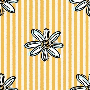 Vintage Daisy Yellow and White Stripe