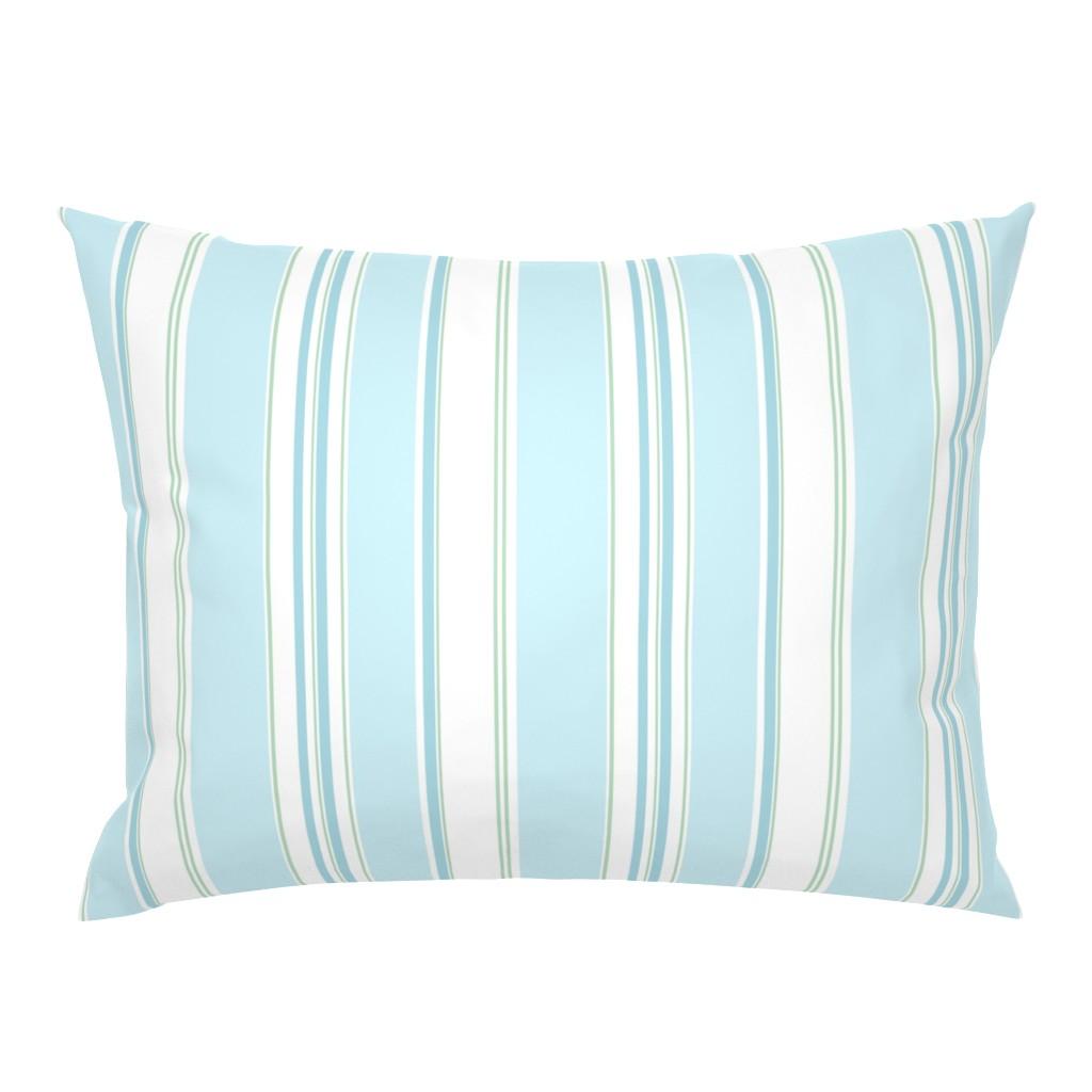Campine Pillow Sham featuring Signe Stripe aqua by lilyoake