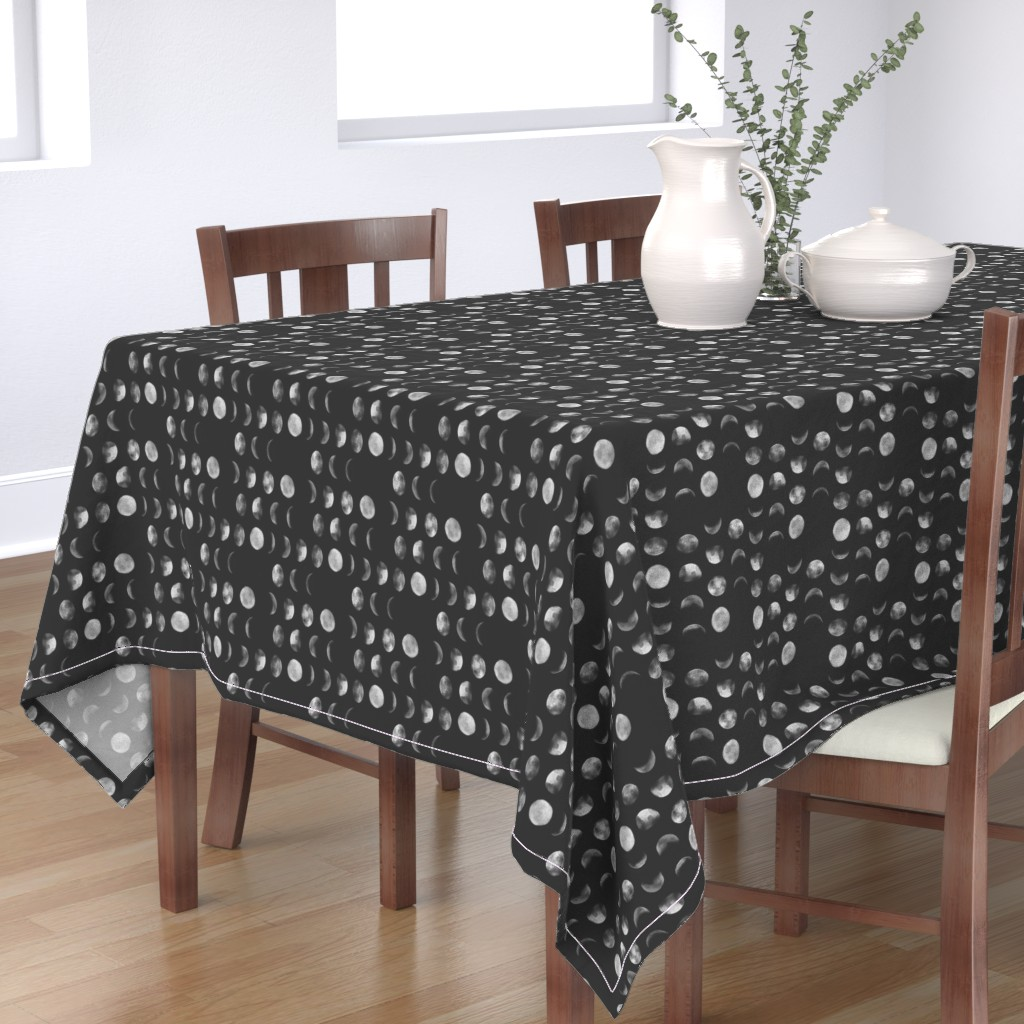 Bantam Rectangular Tablecloth featuring moon phase, black and white, abstract dark night sky geometric by canigrin