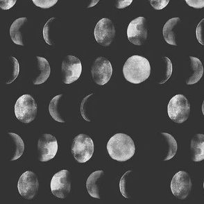 moon phase, black and white, abstract dark night sky geometric