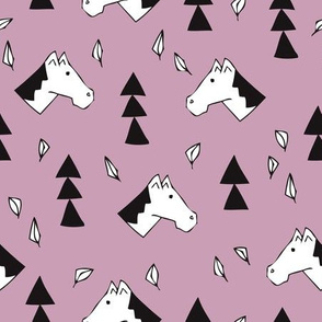 Sweet geometric horses cute animal drawing with triangles and little cowboy feathers in violet black and white