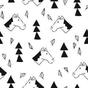 Sweet geometric horses cute animal drawing with triangles and little cowboy feathers in black and white