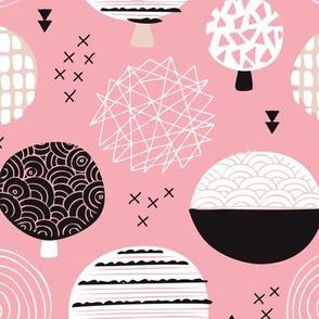 Cute blush pink geometric organic retro tree forest woodland geometric arrow details and circles