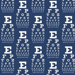 Small vision chart, white on navy
