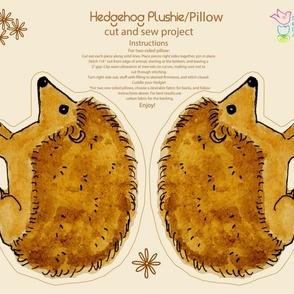 Hedgehog fat quarter Plushie Pillow Cut and Sew