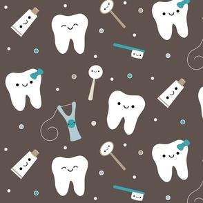 Happy Teeth & Friends (Large) - Brown & Teal