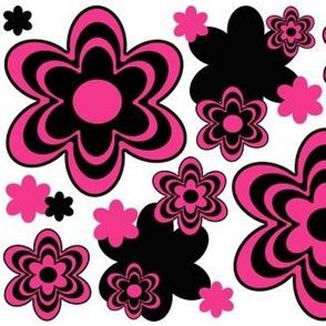 Hot Pink Black Flower Floral Design