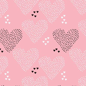I love you sweet scandinavian style graphic hearts illustration print in pink Small