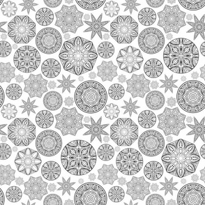 Tribal Stylized Snowflakes In Black And White