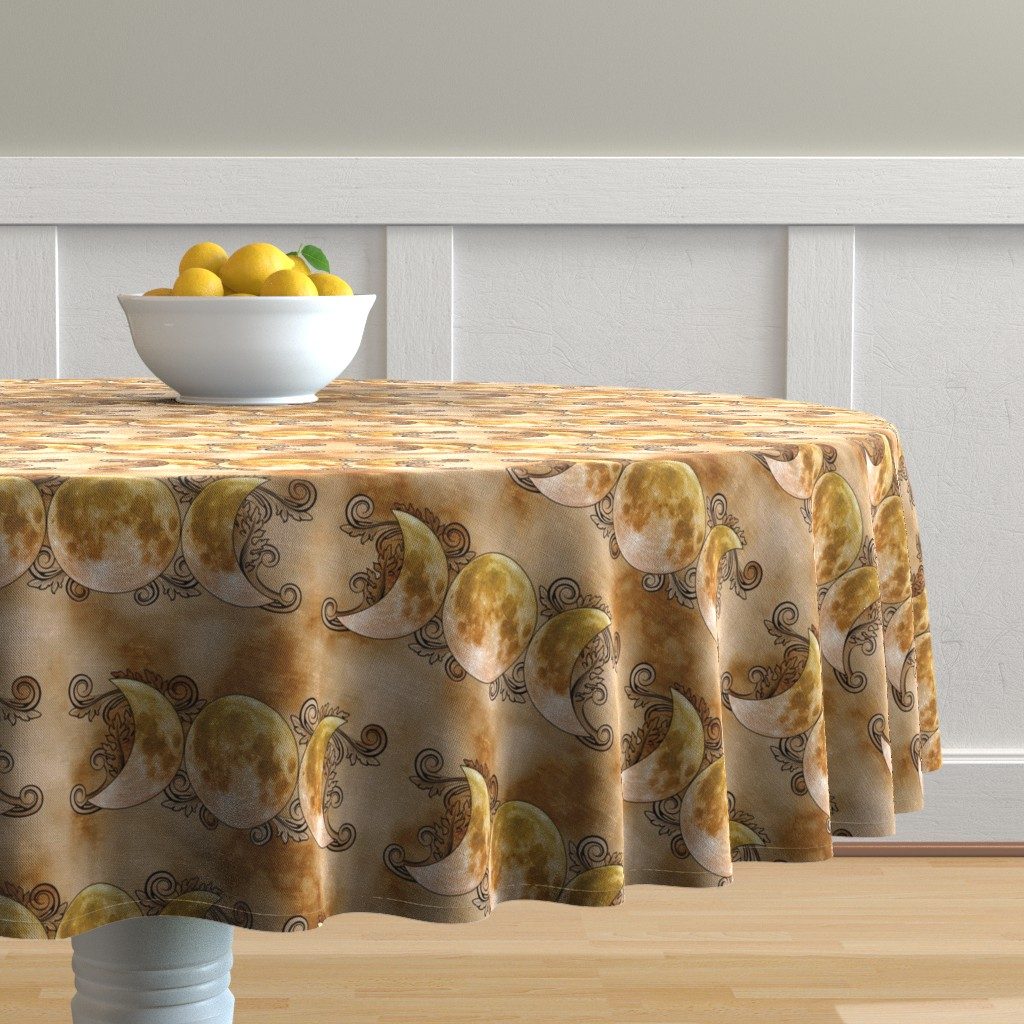 Malay Round Tablecloth featuring Triple Goddess Moons by tracy_dixon