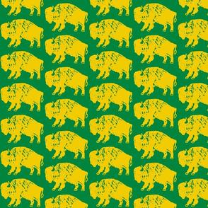 Bison Print - Green & Gold