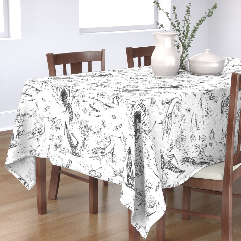 Bantam Rectangular Tablecloth featuring Adventure Toile_Graphite by pattern_state
