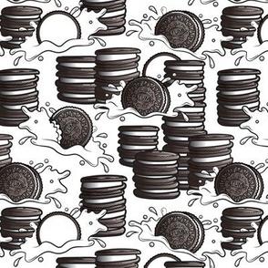 Cookie stacks and milk splashes