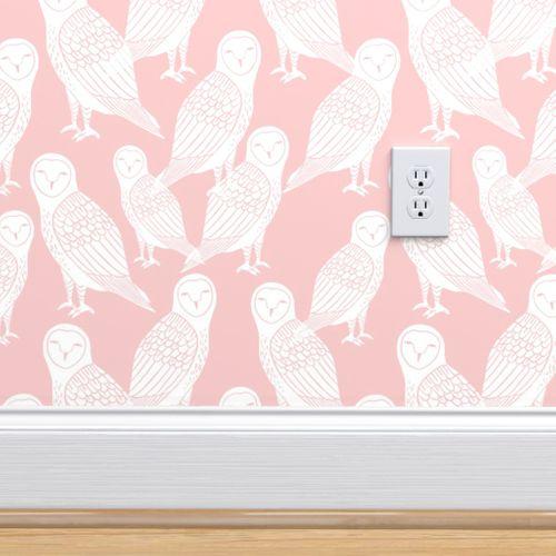 4803104 owls block printed pink owl rose pink pantone cute girly baby pastel pink nursery design by andrea lauren