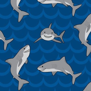 Cartoons sharks (Blue)