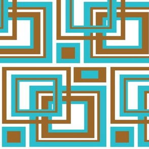 Turquoise Teal Blue Brown Geometric Square Design