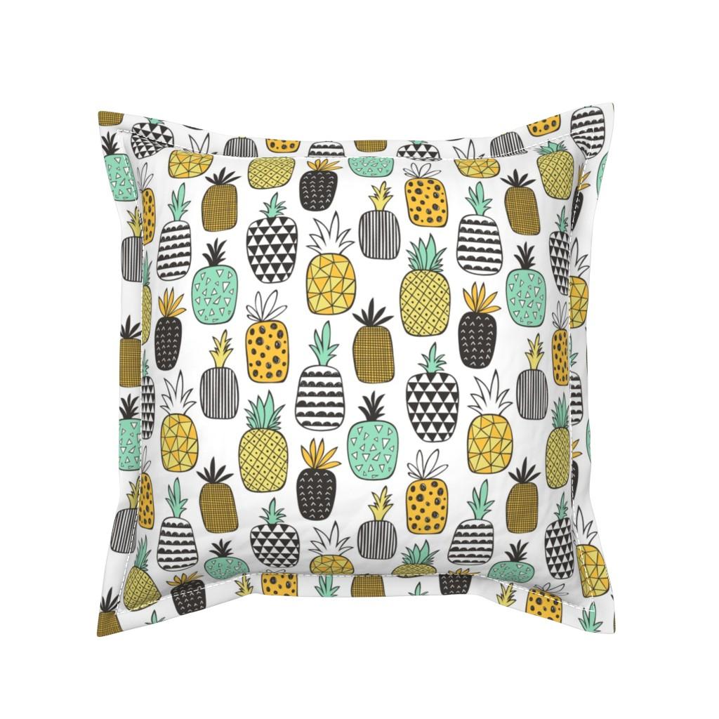 Serama Throw Pillow featuring Pineapple Geometric on White by caja_design
