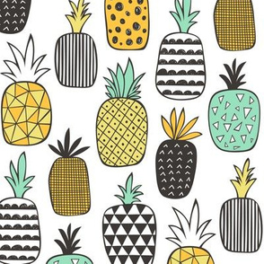 Pineapple Geometric on White