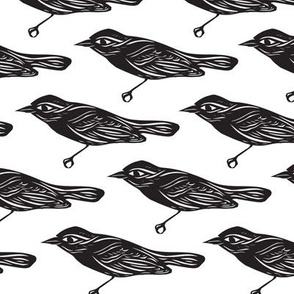 Papercut Bird Pattern in Black and White
