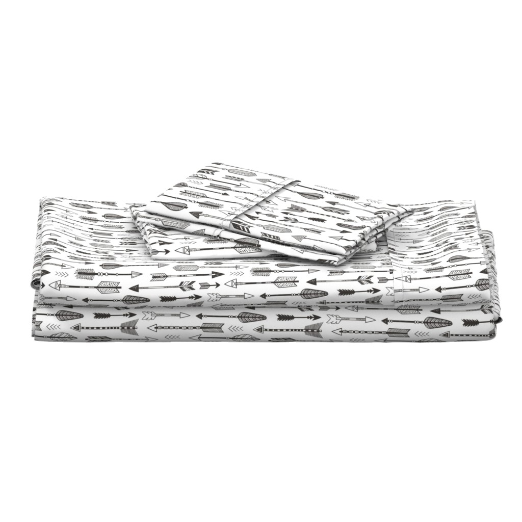 Langshan Full Bed Set featuring Arrows in Black&White by caja_design