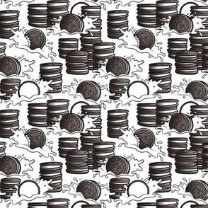 Cookie stacks and milk splashes, smaller version