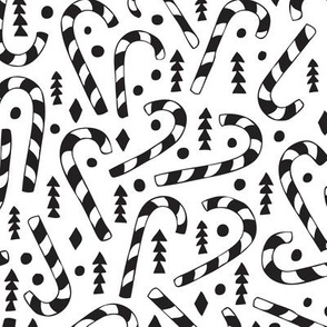 Christmas candy canes cool geometric seasonal illustration scandinavian style holiday theme in black and white