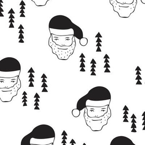 Santa Claus is coming your way cool Christmas seasonal woodland theme for kids in black and white