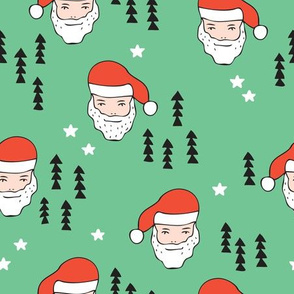 Santa Claus is coming your way cool Christmas seasonal woodland theme for kids in green and red