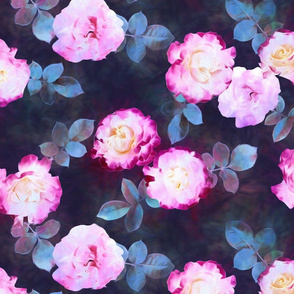 Twilight Roses Botanical Painted Floral
