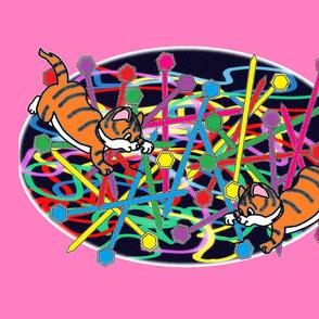 Naughty kitties with Nana's knitting - baby pink